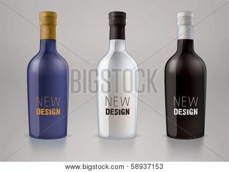 Vector blank alcohol bottles for new design liquor or port wine. Sketch style