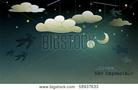Night Sky Background - Whimsical background with cutout clouds, crescent moon and Earth orbiting among the fish