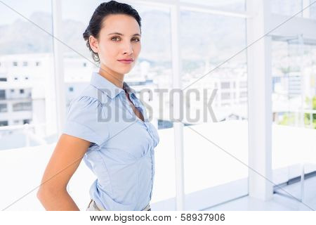 Portrait of a serious young businesswoman standing in a bright office