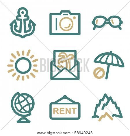Travel web icons, two color series