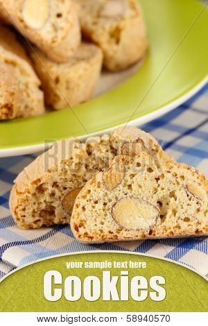 Aromatic cookies cantuccini on napkin close-up