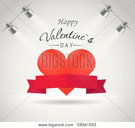 Valentine greeting card. Photorealistic bright stage with projectors and red ribbon with the heart