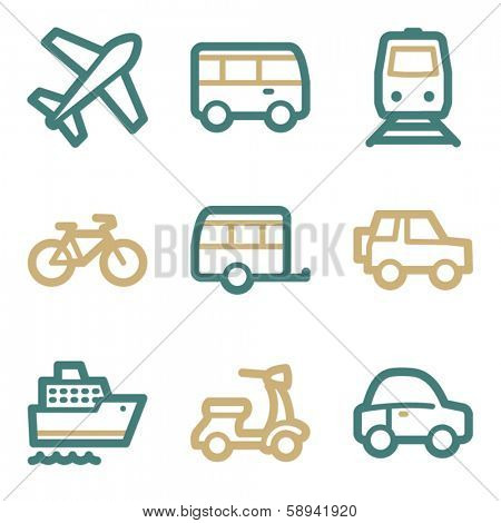 Transport web icons, two color series