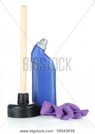 Toilet plunger, gloves and cleaner bottle, isolated on white