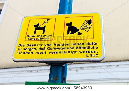 sign, dogs, cleanliness in the city