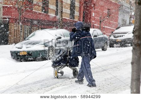 Mail Man During Snow Storm In New York