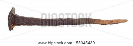 One Rusty Old Big Nail On White Background.