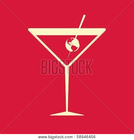 Creative illustration of a cocktail glass garnished with the Earth, symbol of international aspects or globalization, on red background