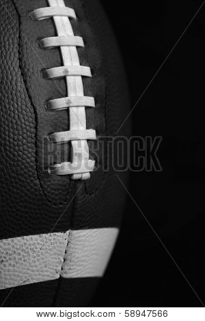 American Football Close Up in Black and White with room for copy