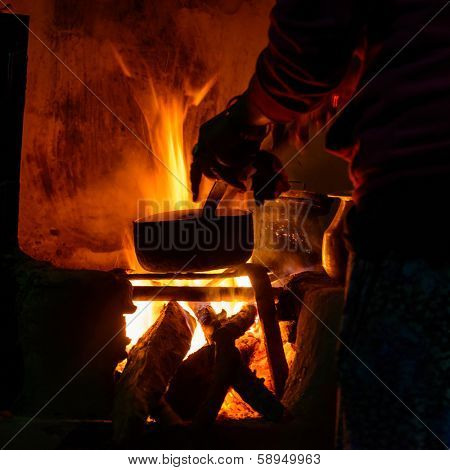 Cooking on wood fire in Nepal