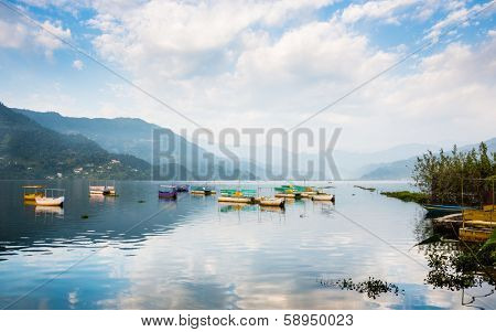 Phewa Lake in Pokhara, Nepal