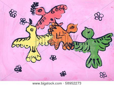 Child's Gouache Picture Of Birds