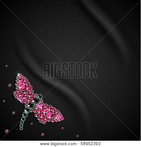 Silky background with butterfly diamond decoration - eps10