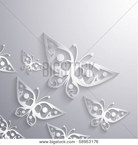 Paper 3d butterflies background - eps10 vector