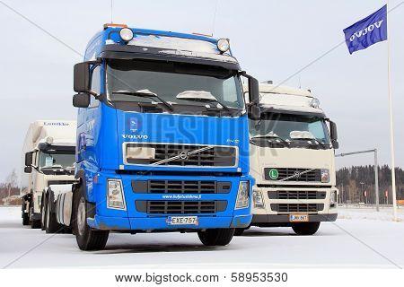 Volvo Trucks On A Yard In Winter