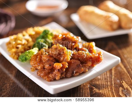 chinese orange chicken with fried rice