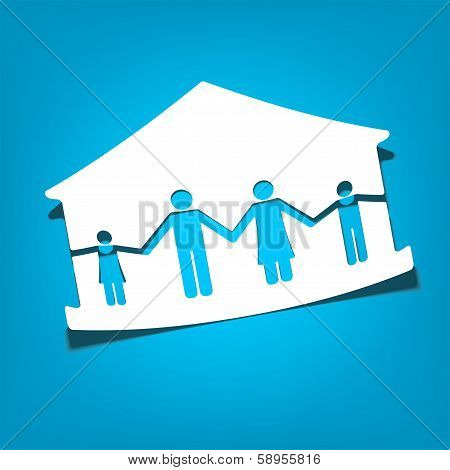 house with family symbols vector illustration