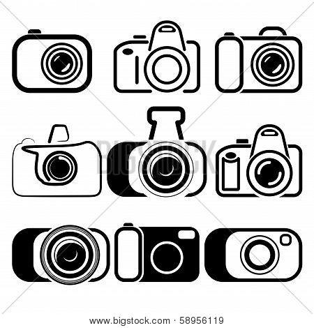 camera set symbols vector illustration