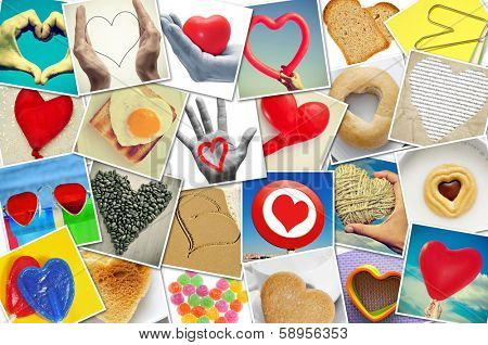 a collage of different snapshots of hearts and heart-shaped things shot by myself