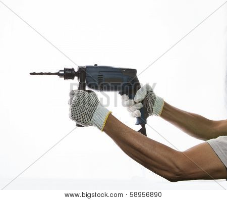 Electric Drilling In Worker Hand Prepar To Drilling On Subject Isolated White Background Use For Diy