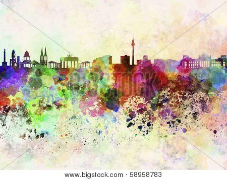 Berlin Skyline In Watercolor Background