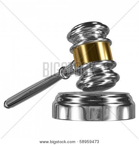 A silver metal judge gavel with gold stripe and soundboard isolated on white background