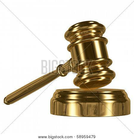 A gold metal judge gavel with gold stripe and soundboard isolated on white background
