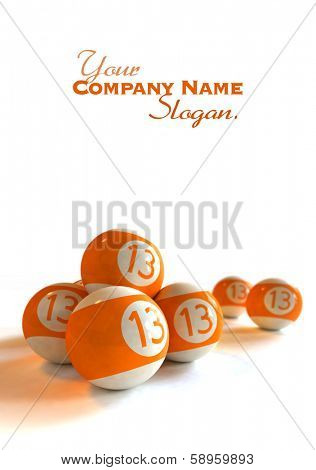 3D rendering of orange billiard balls with number 13