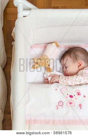 Baby girl sleeping in a cot with pacifier and toy