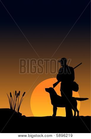 Hunter And Dog At Sunrise