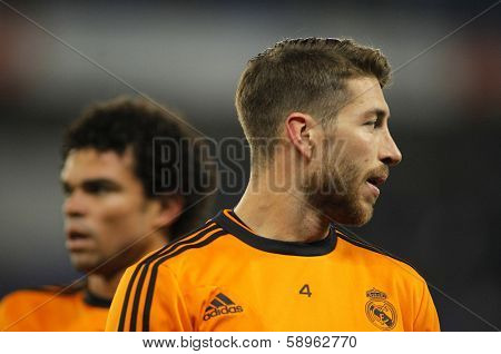 BARCELONA - JAN, 12: Sergio Ramos of Real Madrid during the Spanish League match between Espanyol and Real Madrid at the Estadi Cornella on January 12, 2014 in Barcelona, Spain