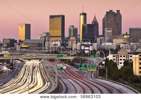 Atlanta, Georgia, USA twilight rush hour.