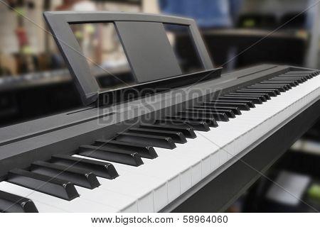 synthesizer keys under the white background