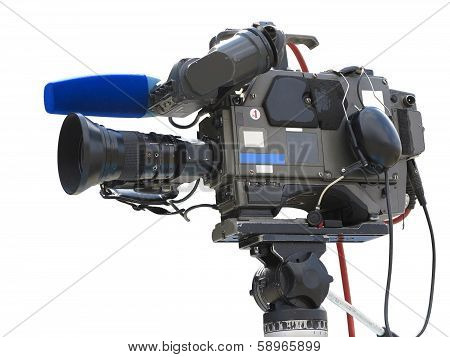 Tv Professional Studio Digital Video Camera On Tripod Isolated Over White
