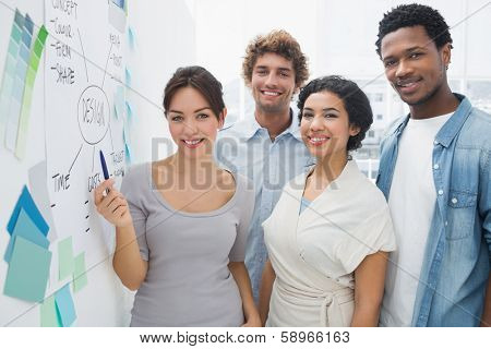 Group portrait of artists standing besides whiteboard at office