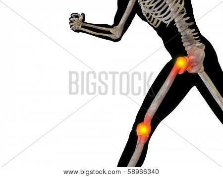 Conceptual 3D human man anatomy or health design, joint or articular pain, ache or injury isolated on white background, for medical, fitness, medicine, bone, care, hurt, osteoporosis,arthritis or body