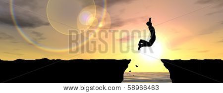 Concept or conceptual young man or businessman silhouette jump happy from cliff over water gap sunset or sunrise sky background as metaphor to freedom, nature,mountain, success,free,joy,health or risk