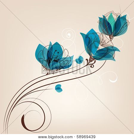 Floral background retro card