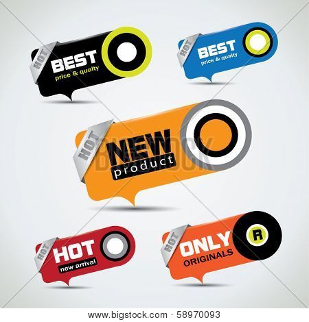 Special offer bubbles in vibrant color variations with different promotional text