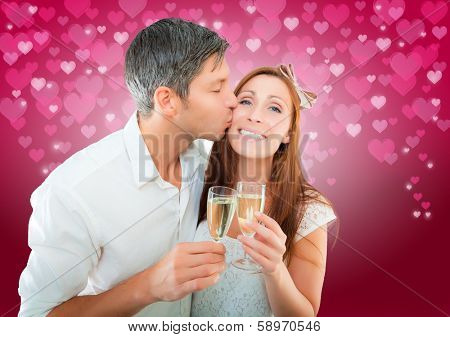 valentien couple kissing drinking with hearts