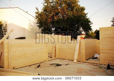 Partially Constructed Wooden House