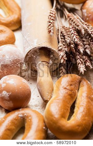 Bakery. Fresh bread, eggs and bagels