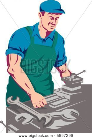 Worker with lathe machine