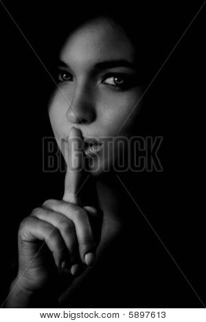 Secret - Mystery Woman With Finger At Lips