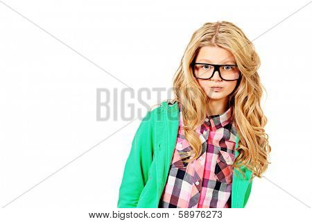 Portrait of a smart ten years girl in big glasses. Isolated over white.