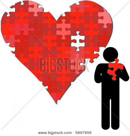 Valentine Heart Puzzleteil in armen Person