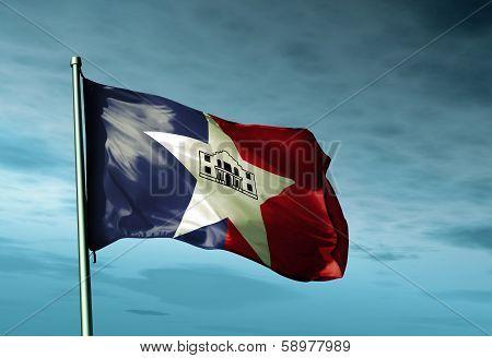 San Antonio (USA) flag waving on the wind