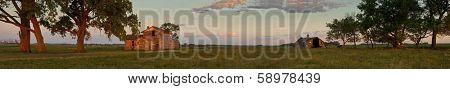 180 degree panorama of abandoned south dakota farmstead