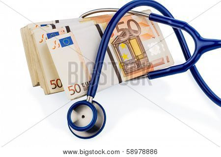 stethoscope and euro banknotes, symbolic photo for monetary union, stability and risks for the euro
