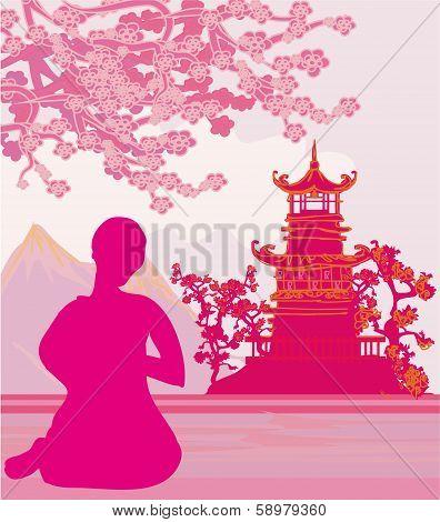 Monk Prays - Abstract Vector Illustration